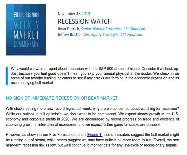 Recession Watch | Weekly Market Commentary | November 18, 2019